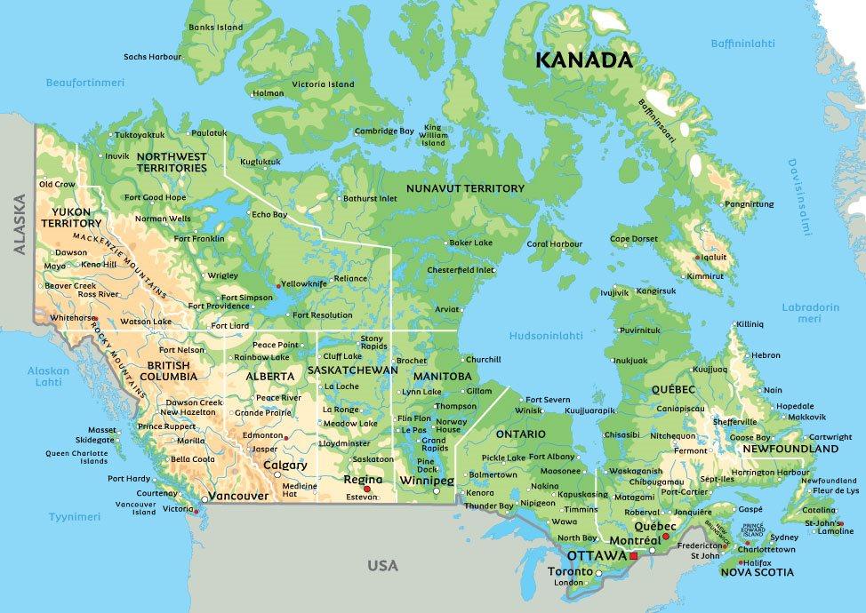 kartta Kanadan kartta