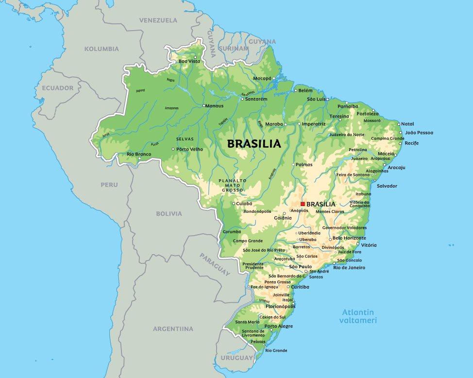 Kartta Brasiliasta: kts. esim. kaupunkien sijainti kartasta