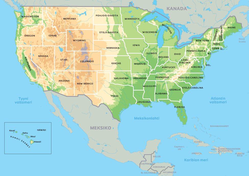 Pohjois Amerikan Kartta